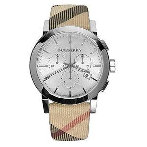 Burberry Check Swiss Leather Strap Watch BU9357
